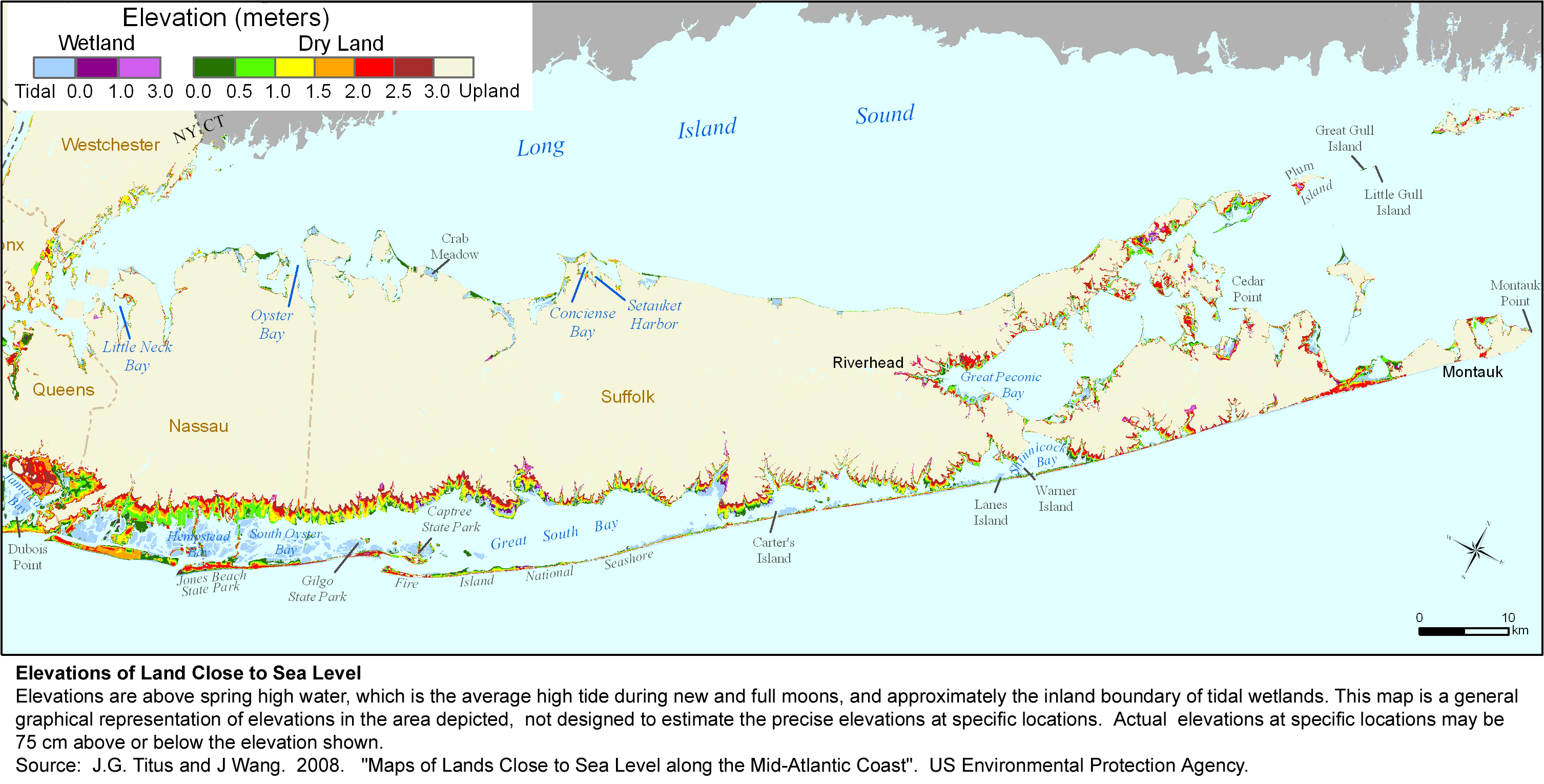 Long Island South Shore Map Sea Level Rise Planning Maps: Likelihood of Shore Protection