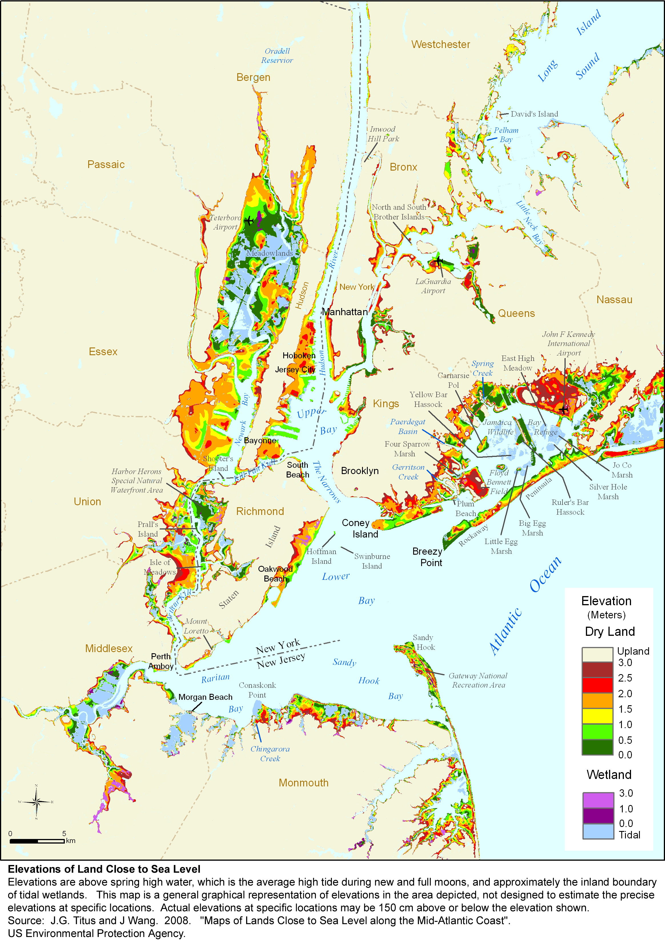 new york metro area elevation map