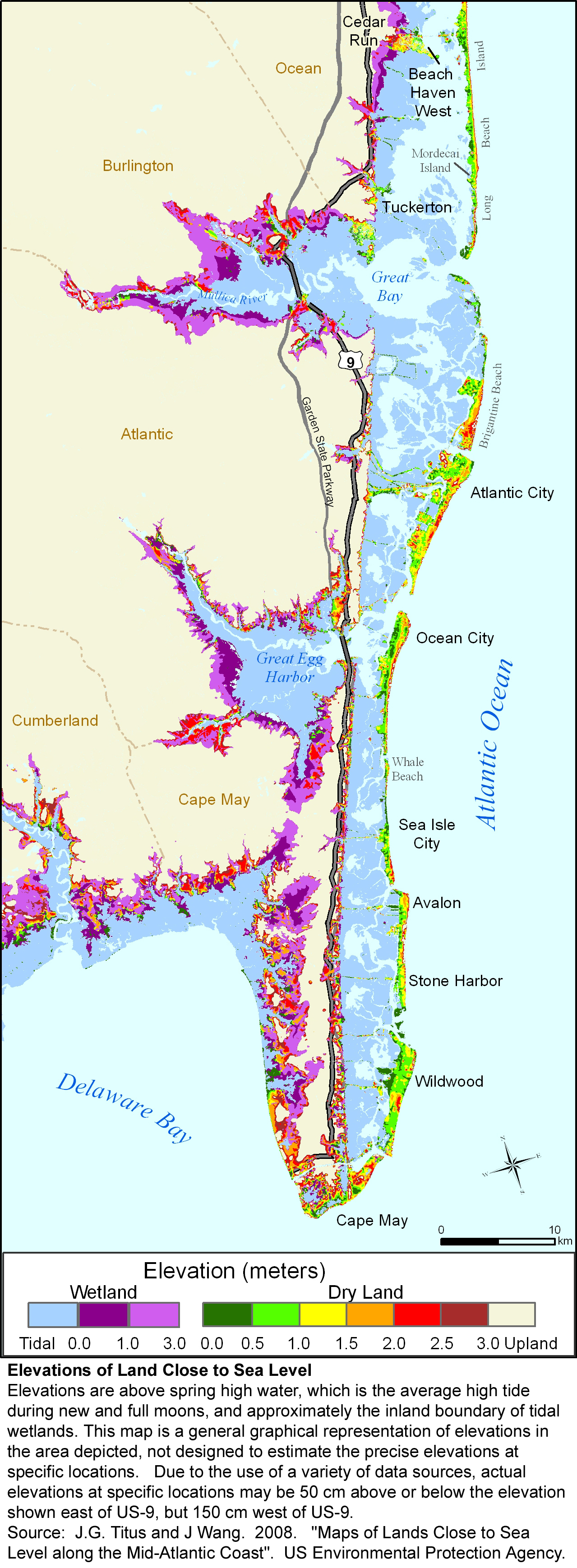 Ocean County, New Jersey  Sea level rise planning map