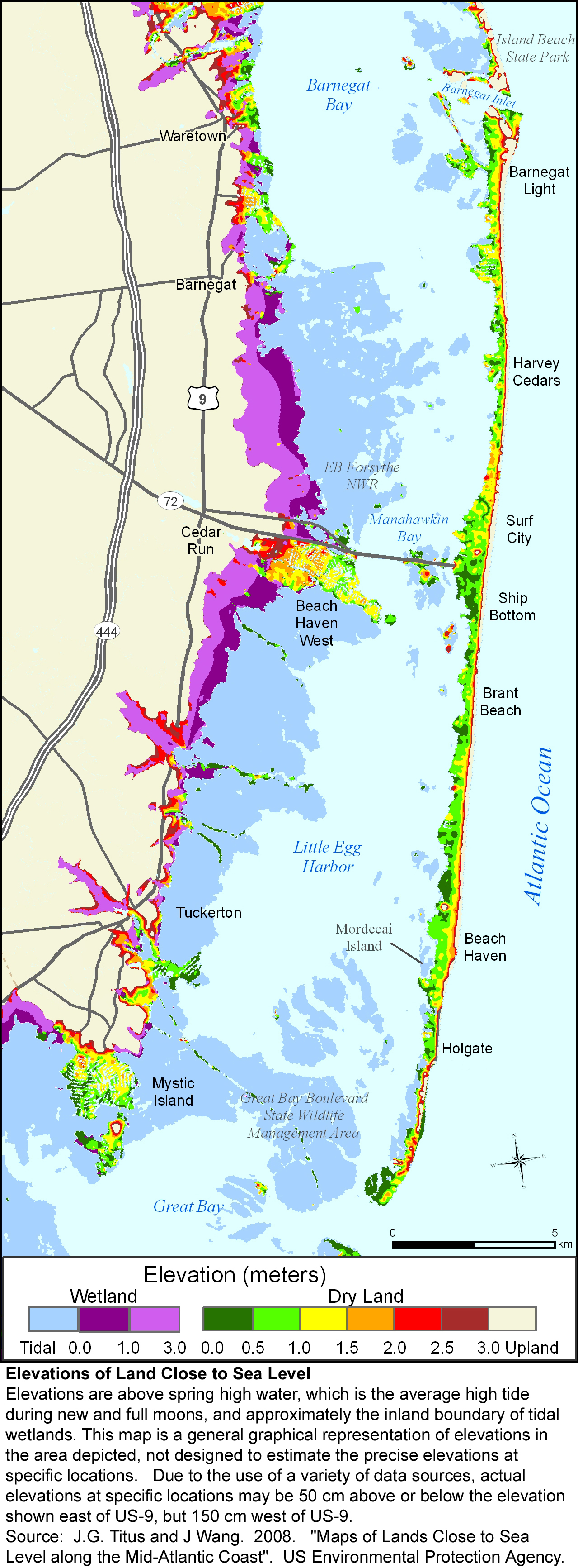 More Sea Level Rise Maps For New Jersey - County map of new jersey