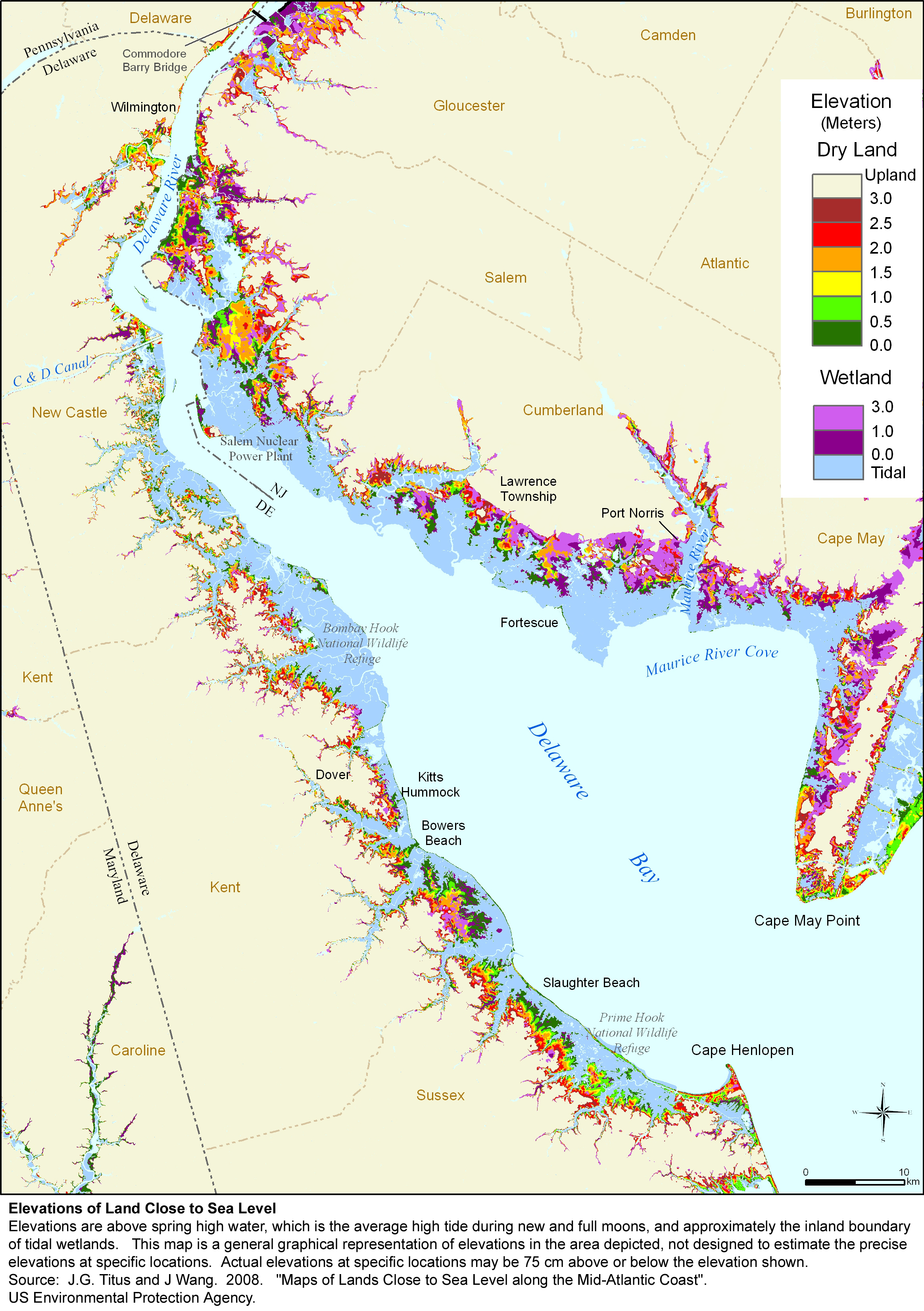 Sea Level Rise Planning Maps Likelihood Of Shore Protection In - Delaware map
