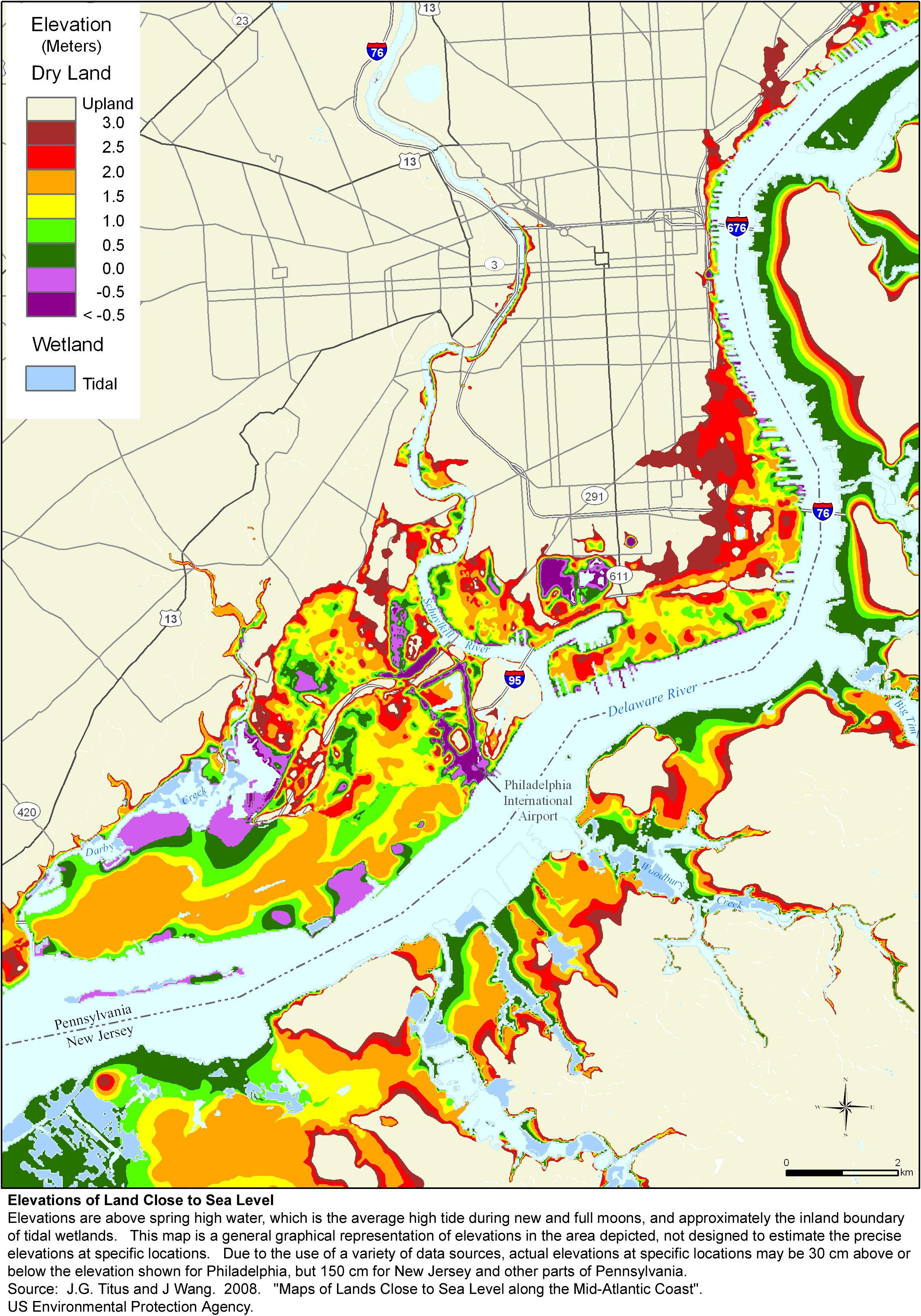 More Sea Level Rise Maps For Pennsylvania - Sea level altitude map