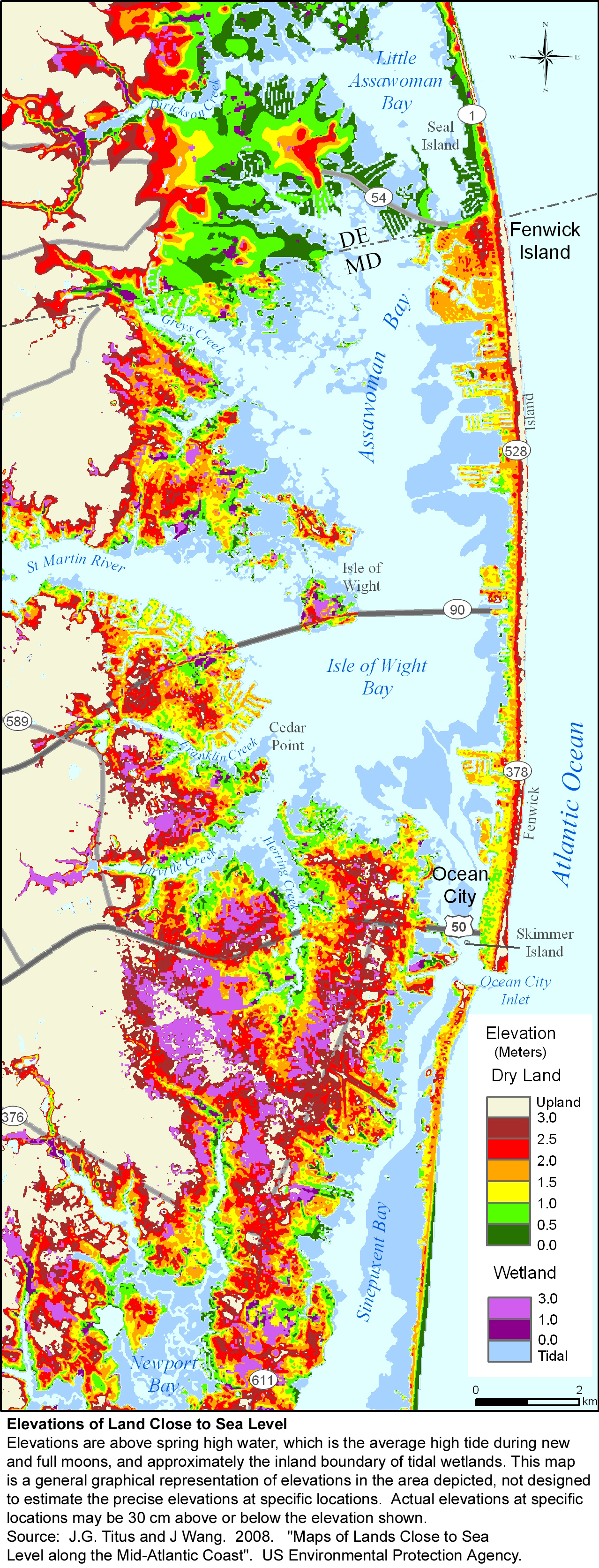 more sea level rise maps for maryland - ocean city