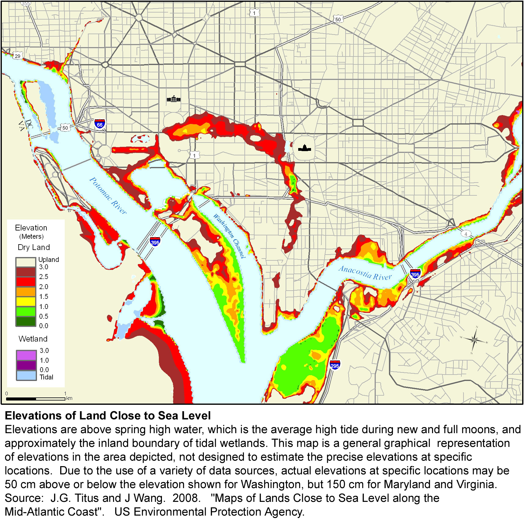 Sea Level Rise Planning Maps Likelihood Of Shore Protection In - Us map district of columbia