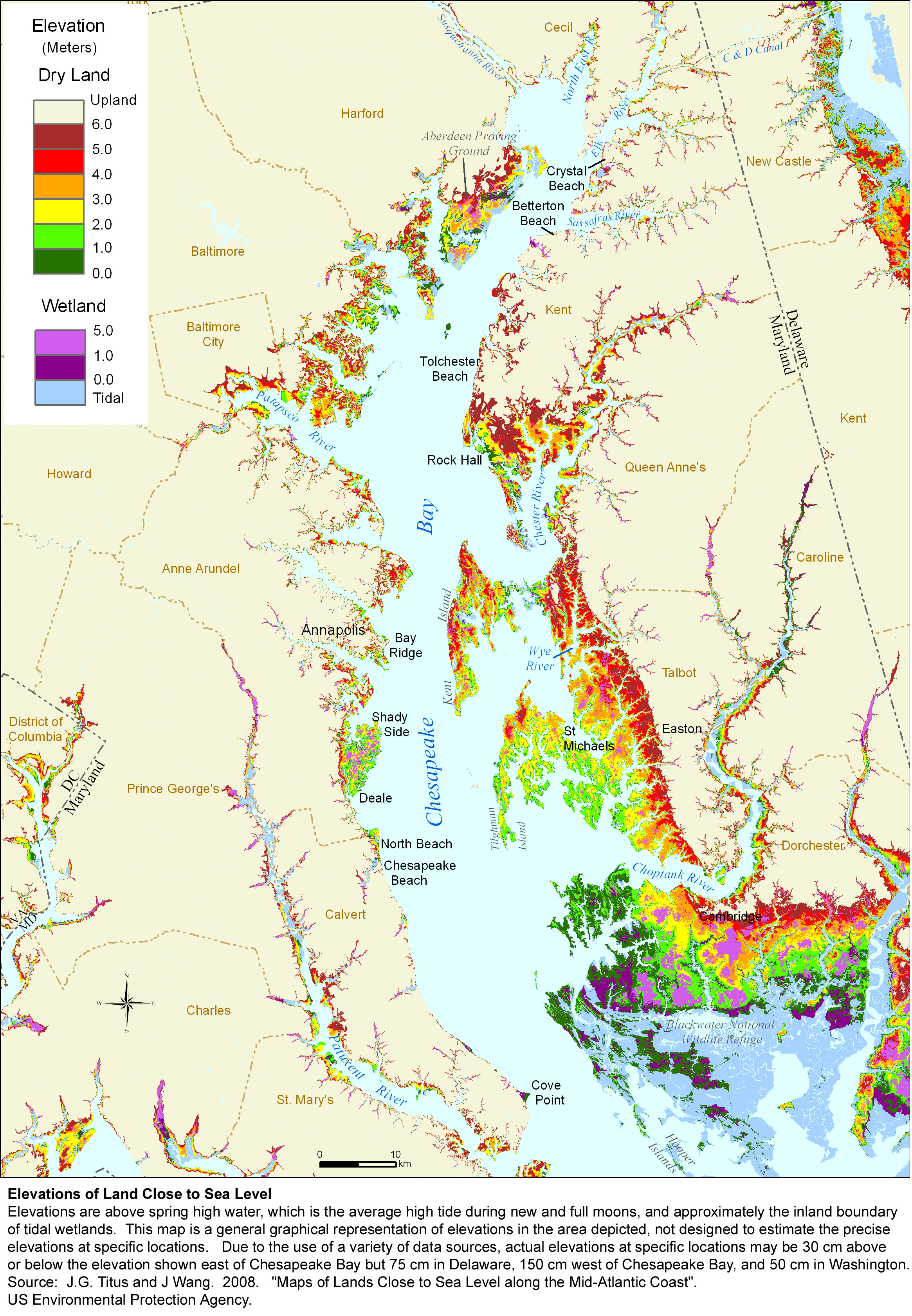 Image Elevations Of Land Close To Sea Level In Upper Chesapeake Bay
