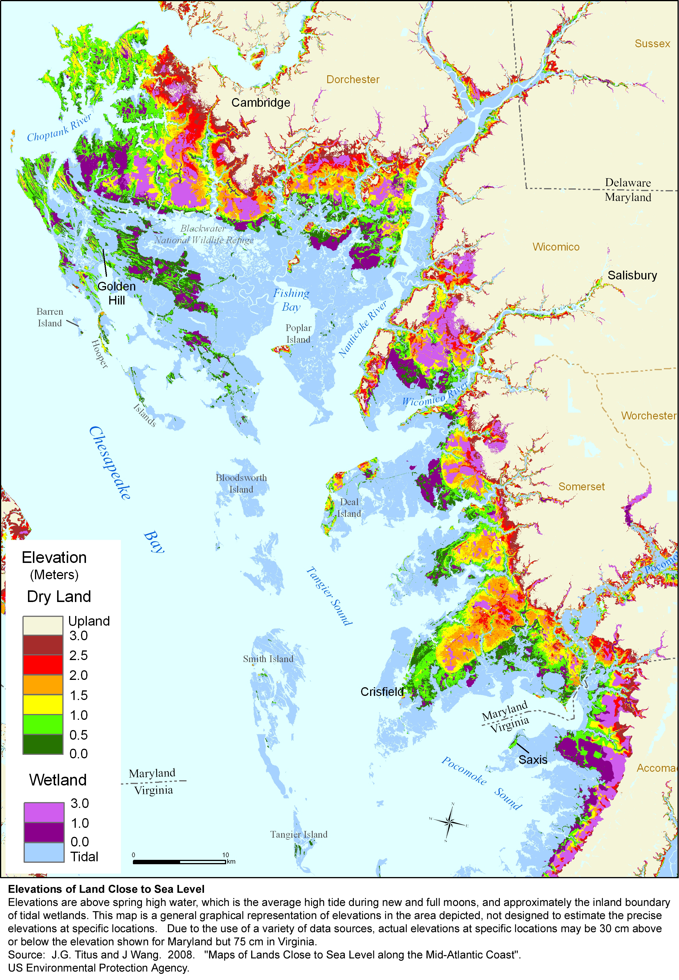 More Sea Level Rise Maps For Maryland - Projected sea level rise map