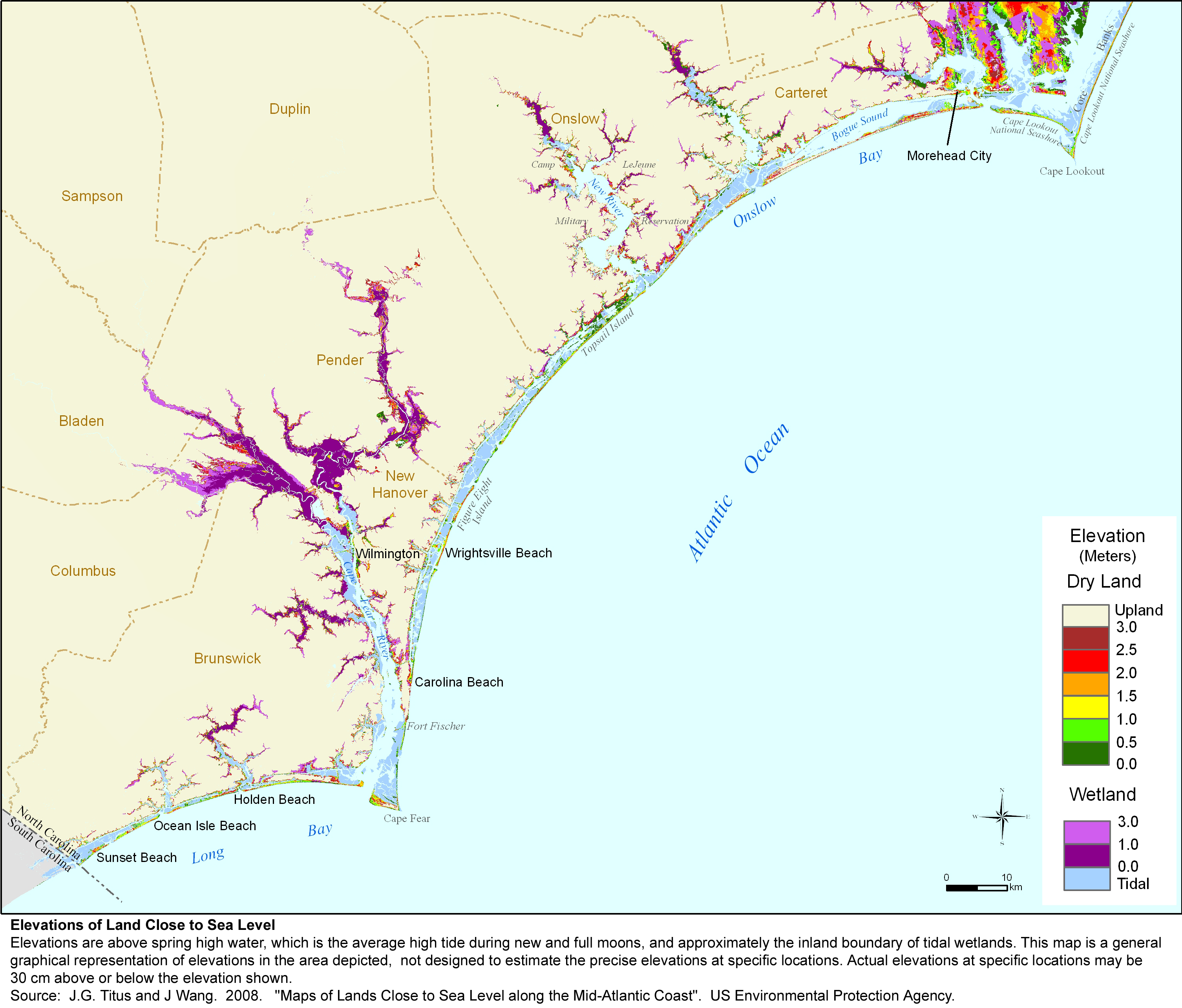 Adapting To Global Warming - South carolina elevation map