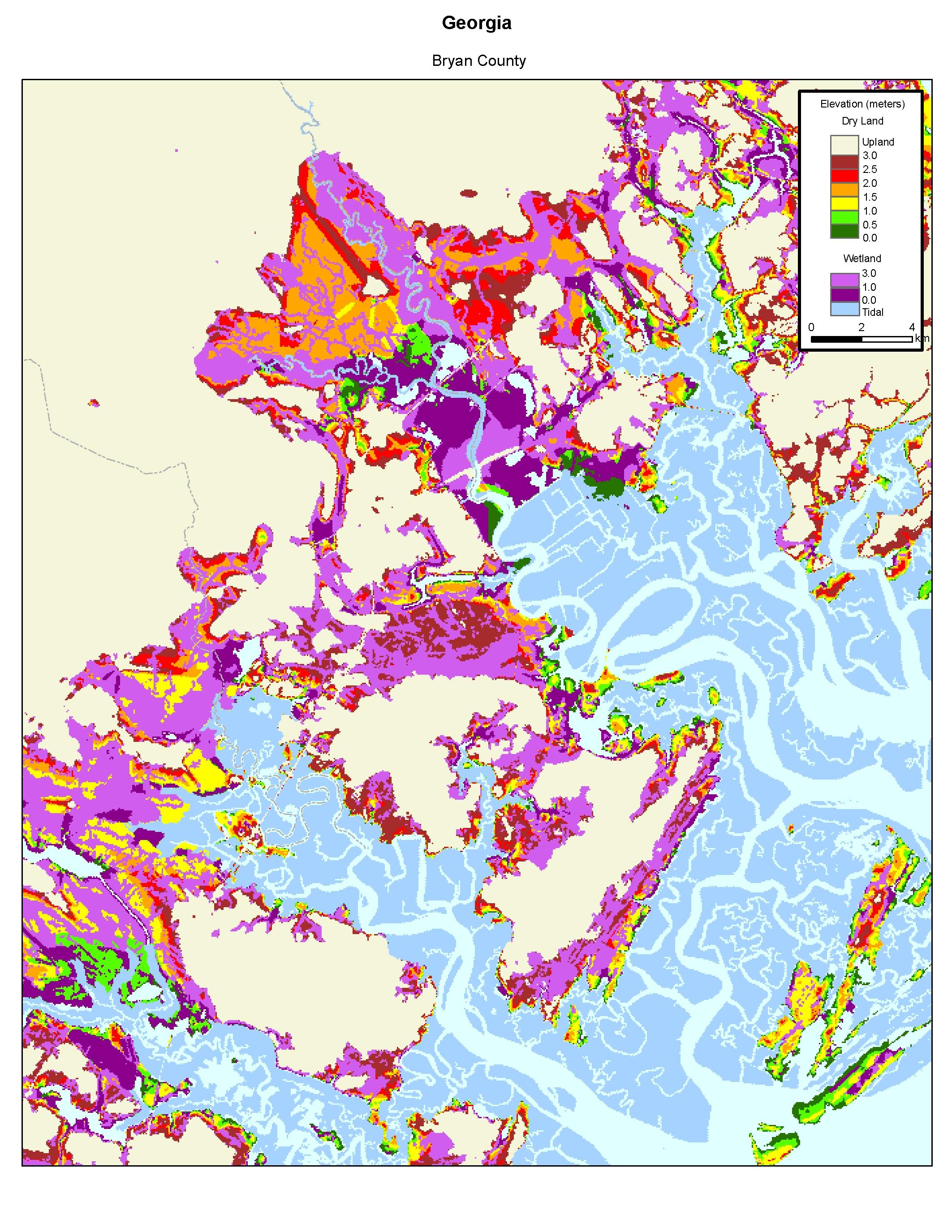 Map Of Georgia Elevation.More Sea Level Rise Maps Of Georgia