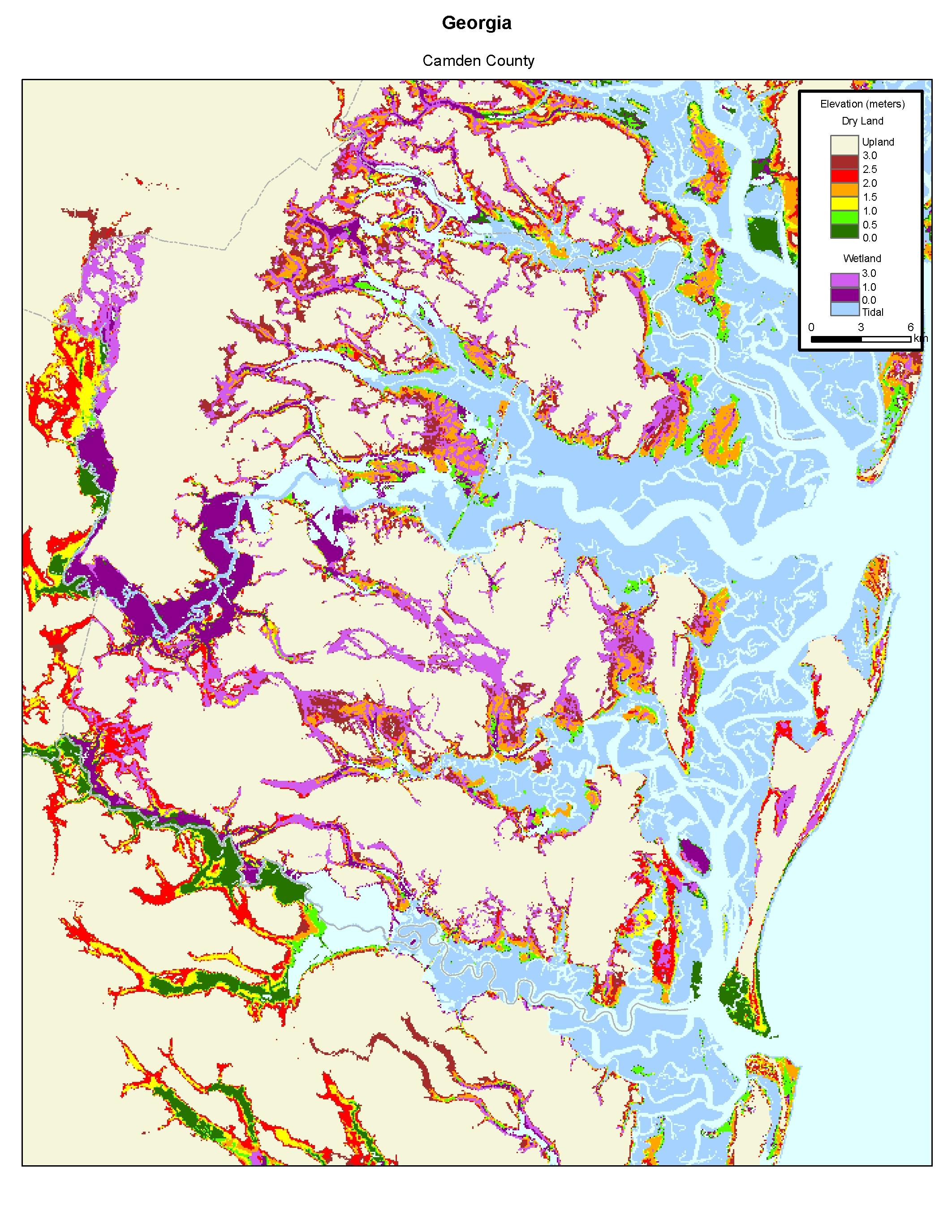 More Sea Level Rise Maps Of Georgia - Georgia map elevation