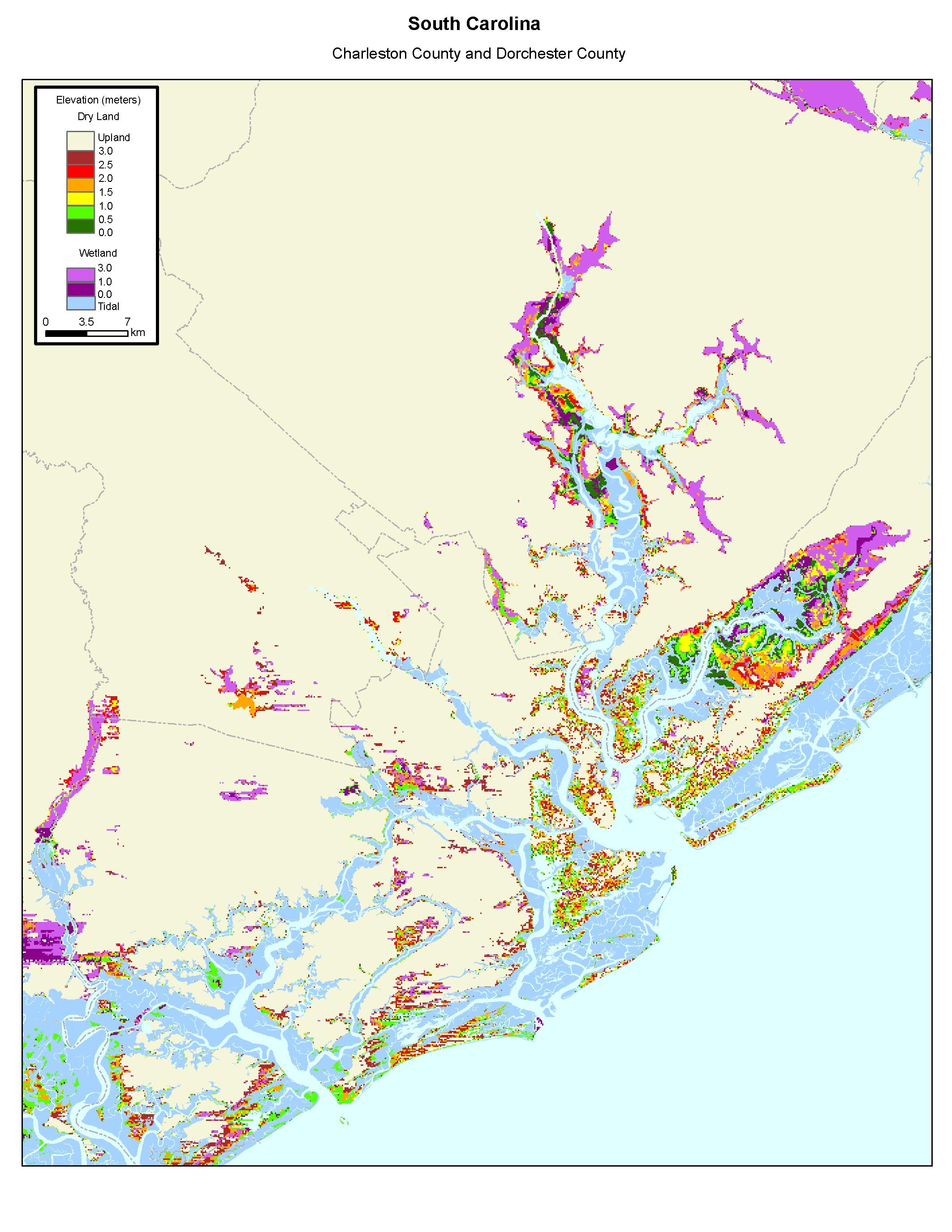 More Sea Level Rise Maps Of South Carolina - South carolina elevation map