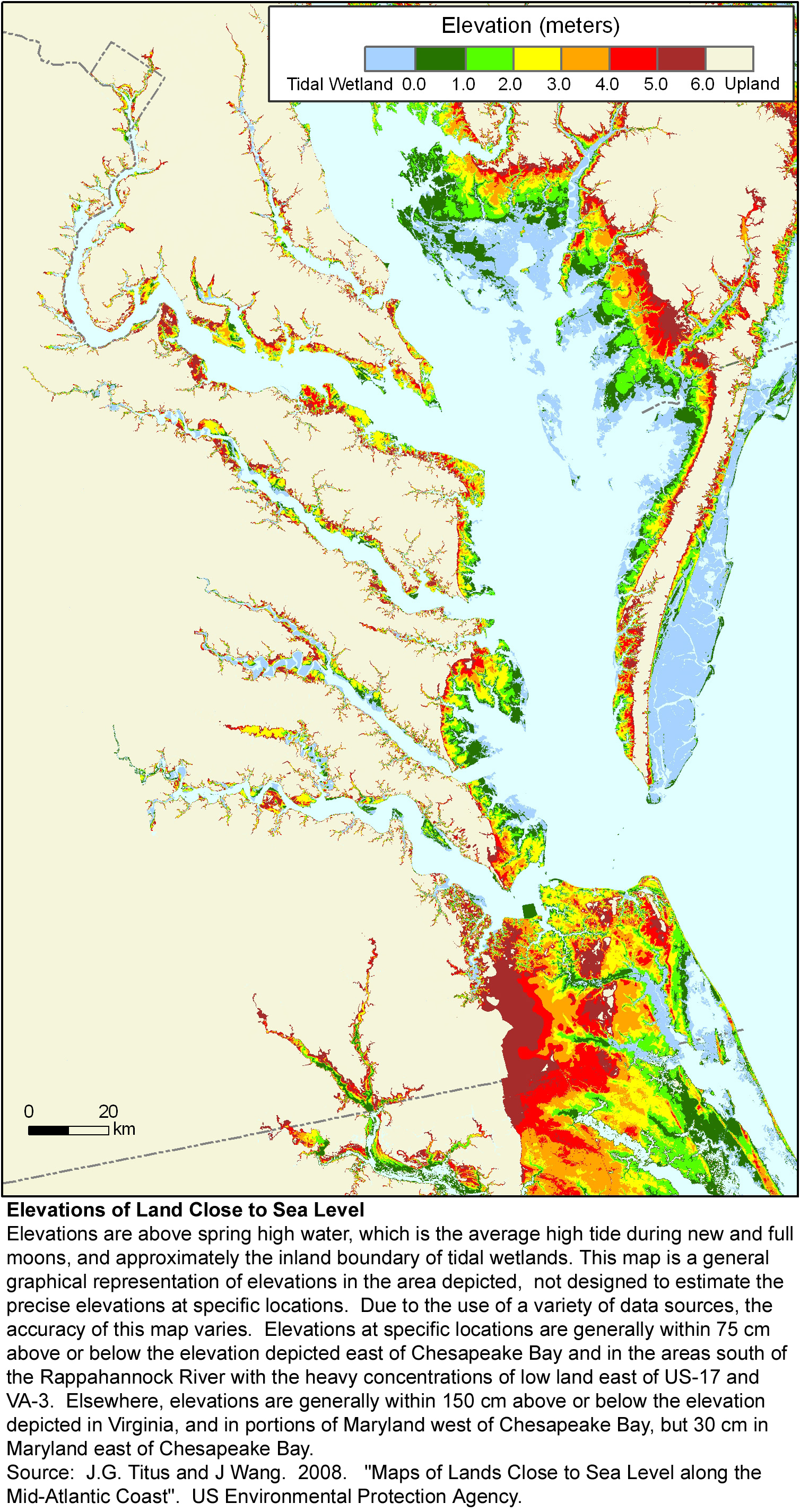 sea level rise elevation map of Virginia
