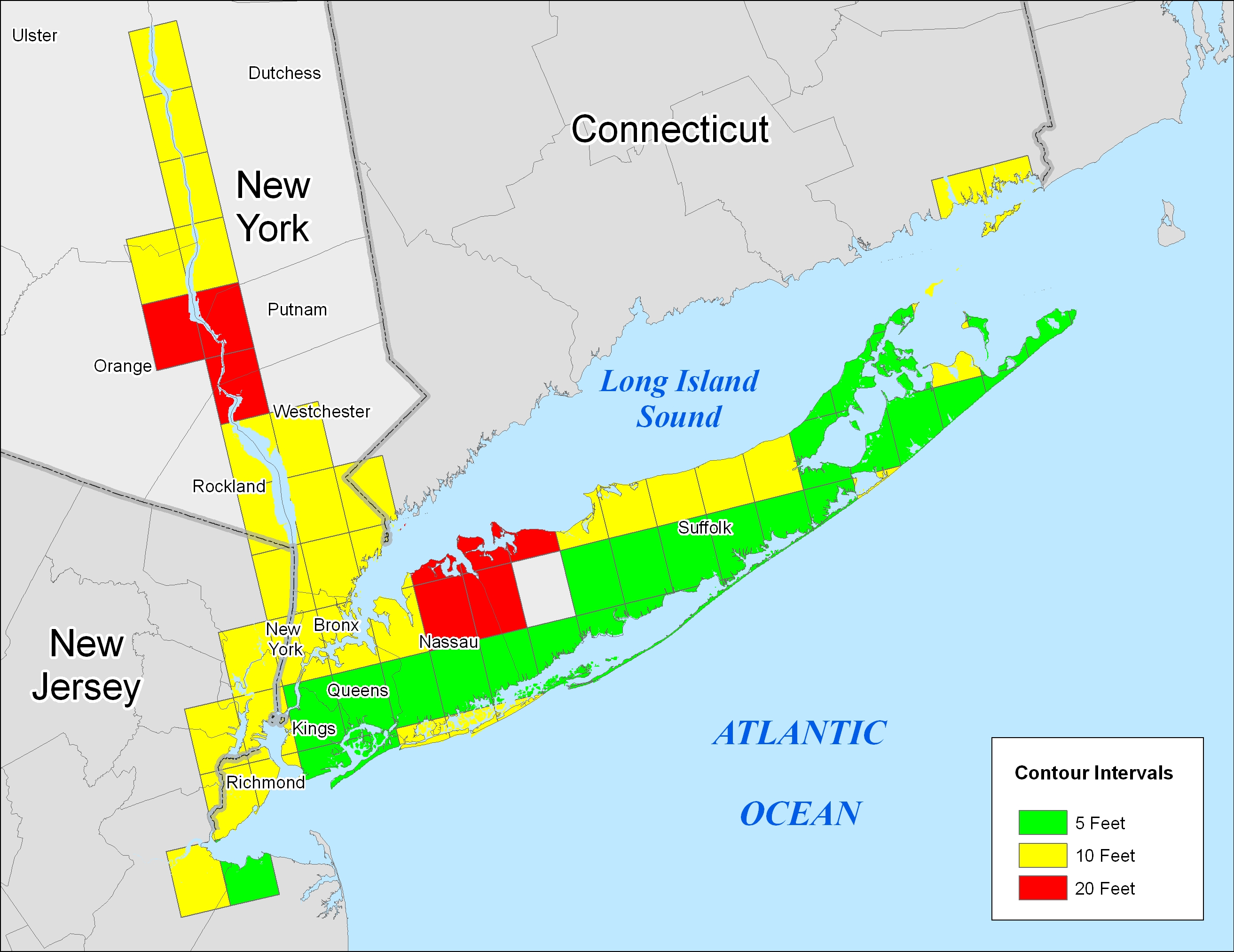 More Sea Level Rise Maps For New York State - Projected sea level rise map