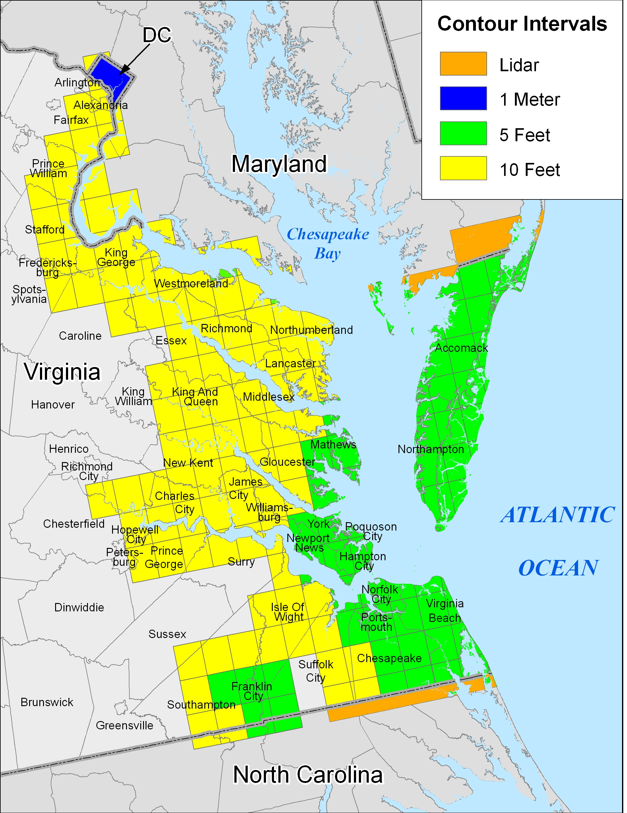 More Sea Level Rise Maps For Virginia - Map of virgina